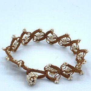 Exceptional Hand-Crochet Lace Beaded Bracelet